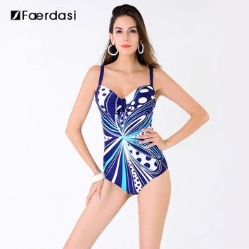 CREY3F Faerdasi 2017 New Arrival Sexy Plus Size One Pieces Swimming Suit Floral Print Swimwear Adjustable Straps Bathing Suit FD81636