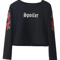 Black Embroidery Rose Long Sleeve T-shirt