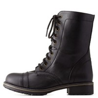 Black Lace-Up Combat Boots by Charlotte Russe