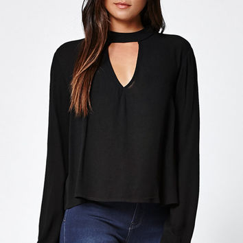 LA Hearts Long Sleeve Choker Neck Top at PacSun.com