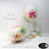 Hand Painted Wine Glass - Butterflies Are Free - Original Designs by Cathy Kraemer