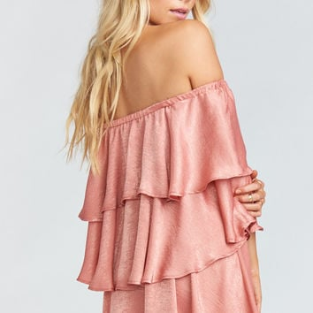 Triple Decker Romper ~ Rustic Mauve Sheen