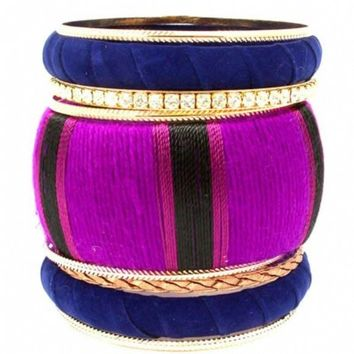 Landry's Purple & Blue Fabric Wrapped Stacking Bangle Set - As Seen In 303 Magazine