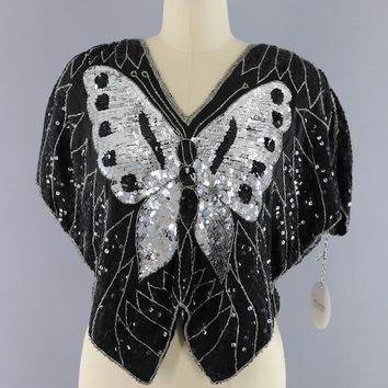 Vintage 1980s Sequined Butterfly Silk Blouse
