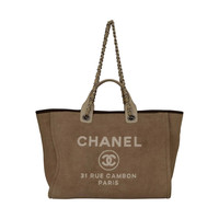 CHANEL Beige Canvas Medium Deauville Tote Bag SHW