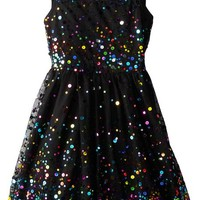 Speechless Big Girls' Rainbow Sequin Full Skirt Dress with Illusion Neck