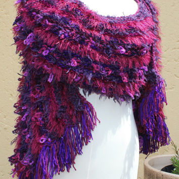 Scarf , Winter shawl , Extra long scarf , Warm soft cosy wool scarf , Hand knit scarf , Shoulder wrap , Out of Africa SCAWL- BERRIES