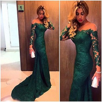 Fashion Dark Green Mermaid Lace Evening Dresses Custom Made Vestido do Festa Long Sleeves Mermaid Gown Formal Dress 2017