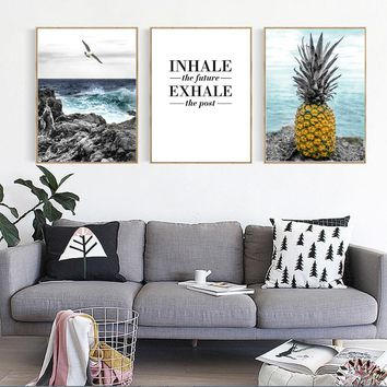 Modern Seascape Pineapple Seagull Canvas Painting Abstract Nordic Posters Prints Wall Art Pictures for Living Room Home Decor