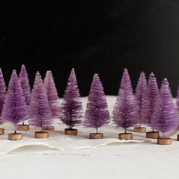 Sugar Plum Bottle Brush Trees - One Dozen Miniature Purple Sisal Trees