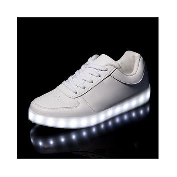 Bewild Brand Deluxe Rechargeable LED Light-Up Sneakers - White includes one Bewild Bracelet