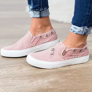 Fashionable selling board shoes women's canvas denim zipper a pair of flat loafers Pink