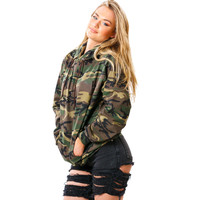 Women Casual Long Sleeve Sweatshirt Fashion Hooded Pullover Camouflage Printing Sweatshirt Tops