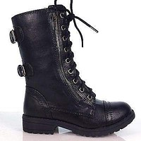 Dome2 By Soda, Children Girls Lace Up Military Combat Boots YOUNG GIRL KIDS soda shoes