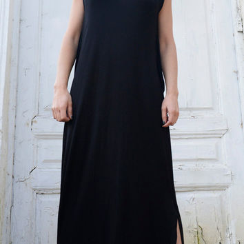 Maxi Black Dress/Oversize Black Kaftan/Sleeveless Dress with Slits/Loose Long Tunic/Spring Long Top/Black Maxi Dress/Plus Size Dress