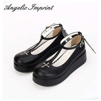 Custom Japanese Goth Lolita Cosplay Ankle T-strap Shoes Platform Heel Comfortable Round Toe Girls Shoes with Wing WHITE/BLACK