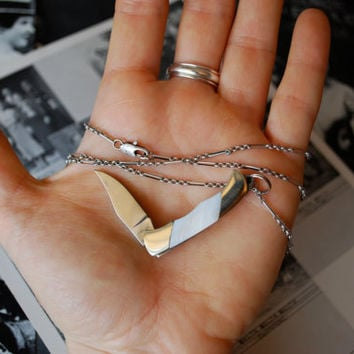Miniature Pocket Knife Necklace- White Mother of Pearl & Antiqued Silver Chain