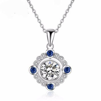 Genuine Halo 1.2CT Round Cut Moissanite Diamond Natural Sapphire 14k 585 White Gold Pendant  Chain Necklace Jewelry