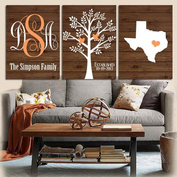 Family Tree Wall Art,Personalized Monogram,CANVAS or Prints,Bedroom Wall Decor Custom Wedding Gift,Last Name Date Tree Birds State Set of 3