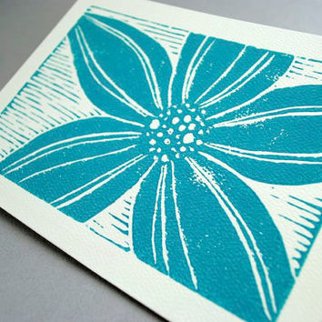 Turquoise Blue Blank Notecard Stargazer Lily by CursiveArts