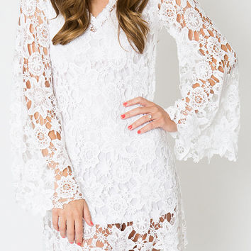 LACE mini dress BELL SLEEVE / bohemian wedding dress / destination casual beach wedding/ vintage inspired hippie boho / ivory white