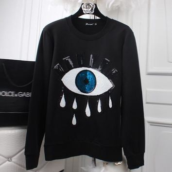 Cotton Punk Rock Hoodies Women 3d Eye Sequins Embroidery Harajuku Streetwear Sweatshirt Tracksuits Autumn Long Sleeve Pullover Tops Casual