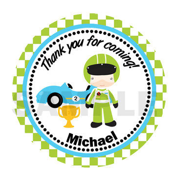 Race Car sticker, Cupcake Topper, Tags, Digital file. Great for birthday partys
