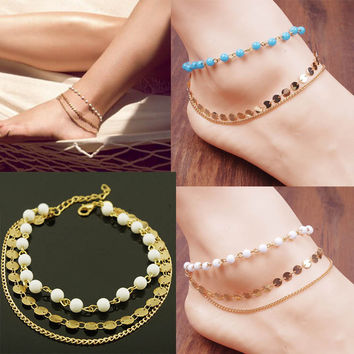 Anklet pulseras tobilleras anklets for women fashion anklets nude beach multi tassel sequins foot chain anklet barefoot sandals