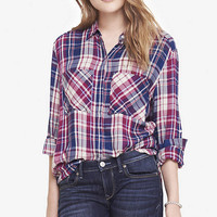 OVERSIZED PLAID SHIRT - BERRY BLUE AND IVORY from EXPRESS