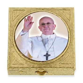 Brass Square Pope Francis I Pill Box