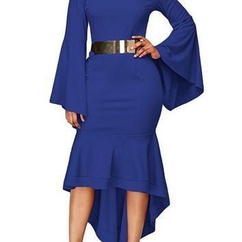 Navy Blue Irregular Swallowtail Peplum Bell Sleeve Fashion Midi Dress