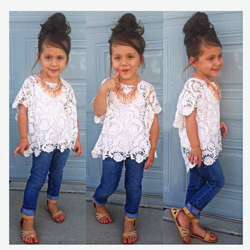 Girl 3pcs Clothes Set. includes jeans, tank top and lace tunic
