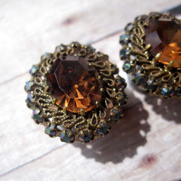 "One of a Kind VINTAGE Pair of Antique Brass & Amber Tunnels - Formal Plugs - Wedding - 00g, 7/16"", 1/2"", 9/16"" (10mm, 11mm, 12mm, 14mm)"