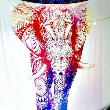 Blush Elephant Boho Wall Bed Tapestry