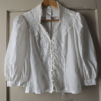 Vintage 70s Jessica McClintock Gunne Sax Victorian Edwardian White Lace Gunnies Blouse Boho Hippie Prairie Shirt Button up Shirt Size Small