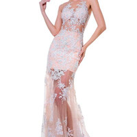 PRIMA 17-8797 Sheer Illusion Lace Applique Prom Pageant Wedding Reception Dress