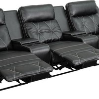 Real Comfort Series 3-Seat Reclining Black Theater Seating Unit W/Straight Cup Holder