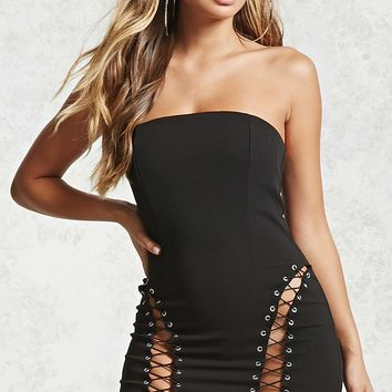 Lace-Up Tube Dress