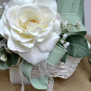 Flower Girl Basket in Mint Green and Antique White-Cabbage Rose and Babys Breath Accents-Nursery-Wedding -Rustic Cottage Decor- Home Decor
