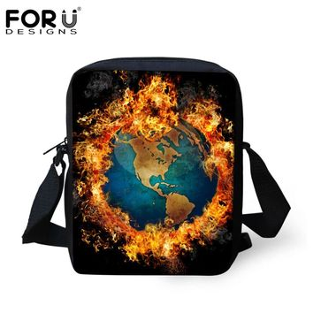 FORUDESIGNS Cool Fire Earth Type Pattern Cross Body Bag for Women Brand Designer Teens Girls Small Messenger Bags Travel Handbag