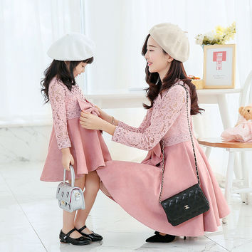 2017 new spring lace  suede Patchwork fashion dress Family Matching Outfits Mother & Kids Clothing Family Look Dresses for Girls
