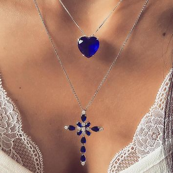 Women's Fashion Charm Crystal Cross Pendants Love Gem Necklace Engagement Accessories Valentine's Day Gifts