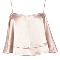Violetta Hammered Satin Strappy Swing Crop Cami