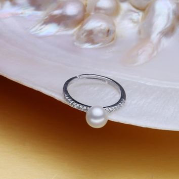 Women's natural  freshwater pearl ring 925 Sterling Silver Ring