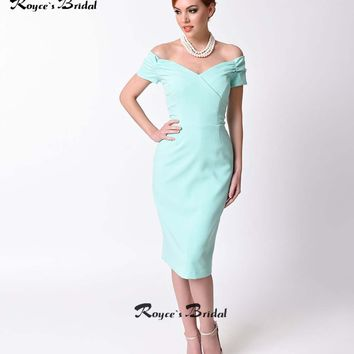 2017 New Style Mint Green Cocktail Dresses Knee Length Off-the-shoulder Sheath Party Gown Custom Made