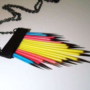 Neon Tribal Porcupine Quill Necklace by RawEarthStudio on Etsy