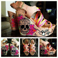 Custom Sugar Skull Wedges Women's by PrettyInPunkArt on Etsy
