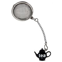 Prodyne Stainless Steel Tea Infuser with Black Teapot Ornament