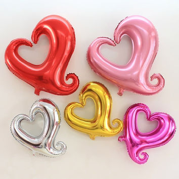 10pcs/lot 18'' Inflatable Heart Shape Baloons Helium Balloon Globos Party Ballons Wedding Decorations Party Supplies (Color: Multicolor) = 1945890564