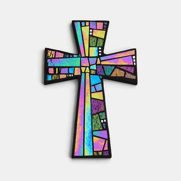"Mosaic Wall Cross, Large, Black with Iridescent Glass + Silver Mirror,  Handmade Stained Glass Mosaic Cross Wall Decor, 15"" x 10"""